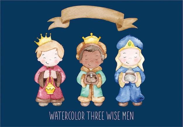 Aquarelle trois sages