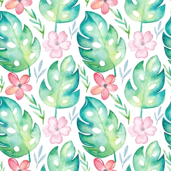 Aquarelle tropical modèle sans couture avec fleurs et feuilles