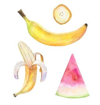 Aquarelle tropicale de fruits sertie de peau de banane