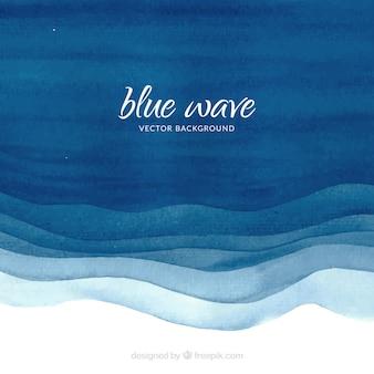 Aquarelle avec des vagues bleues