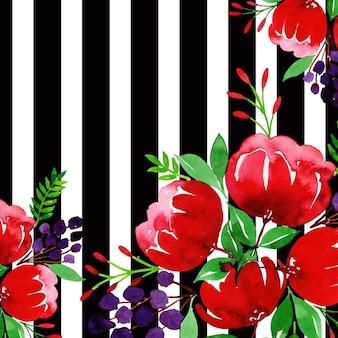 Aquarelle valentine black strip floral background