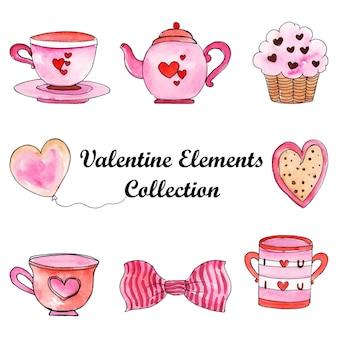 Aquarelle valentine elements collection