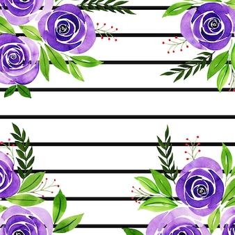 Aquarelle valentine floral background avec des rayures