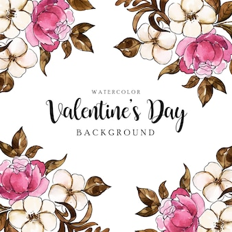 Aquarelle valentine floral background
