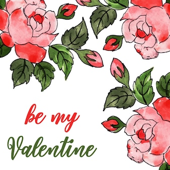 Aquarelle valentine floral background