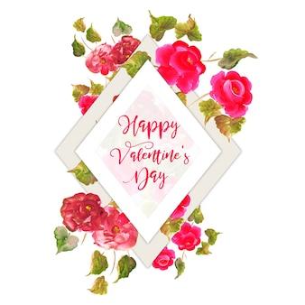 Aquarelle Valentine Floral Frame