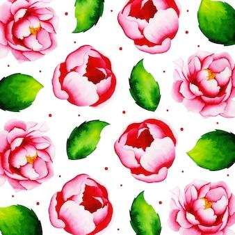 Aquarelle valentine floral pattern background