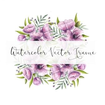 Aquarelle vecteur violet cadre