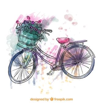 Aquarelle vélo vintage