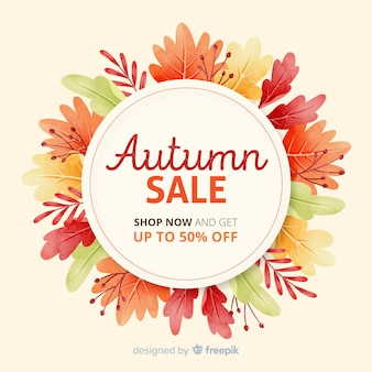 Aquarelle vente d'automne avec des feuilles séchées