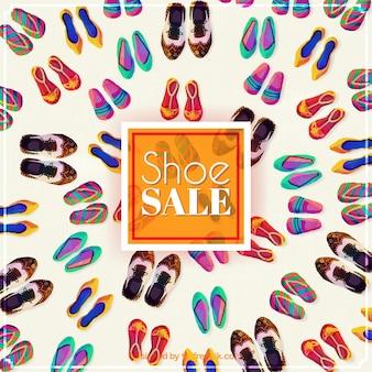 Aquarelle vente de chaussures fond