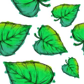 L'aquarelle verte laisse fond de motif