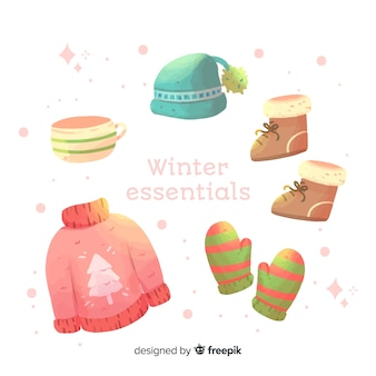 Aquarelle vêtements d'hiver et l'essentiel