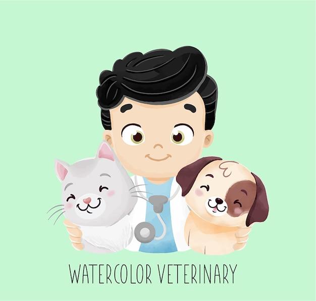 Aquarelle vétérinaire avec chien et chat