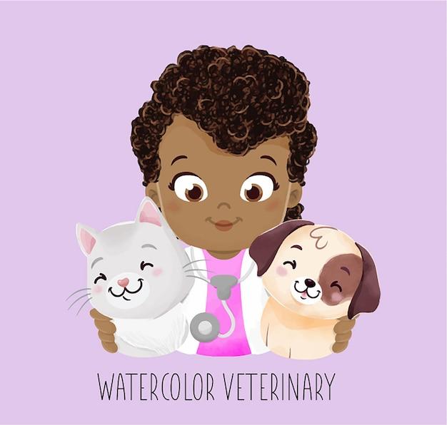 Aquarelle vétérinaire femelle avec chat et chien