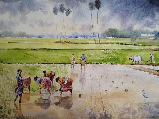 Aquarelle village scène paysage peinture illustration dessinée à la main