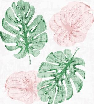 Aquarelle vintage tropic laisse