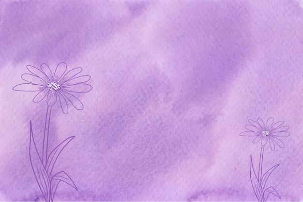 Aquarelle violette avec texture de fond de fleurs dessinées à la main