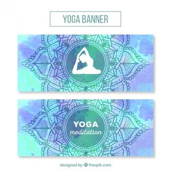 Aquarelle yoga ornement bannières