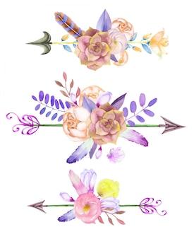 Aquarelles bouquets de fleurs avec des flèches