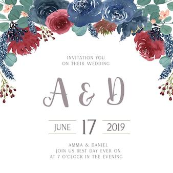 Aquarelles florales avec bordure de texte