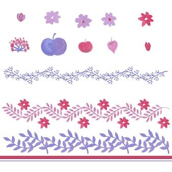 Aquarelles ornements floraux