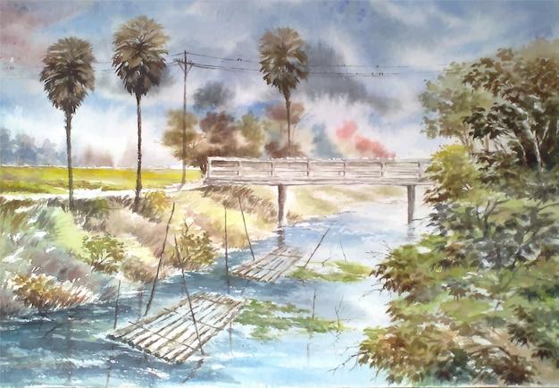Aquarelles rivière et nature arbre