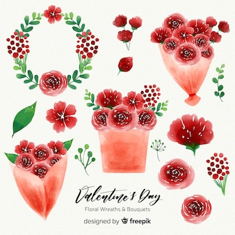Aquarelles saint valentin couronnes et bouquets de fleurs