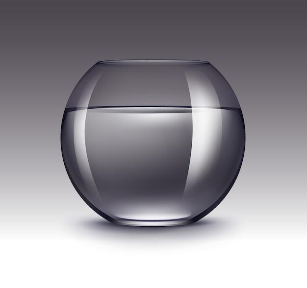Aquarium fishbowl en verre brillant transparent violet réaliste avec de l'eau sans poisson isolé sur fond sombre