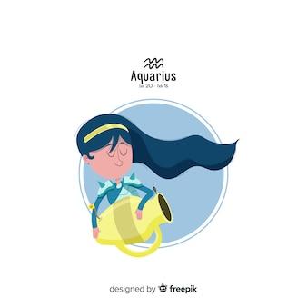 Aquarius personnage style dessiné à la main