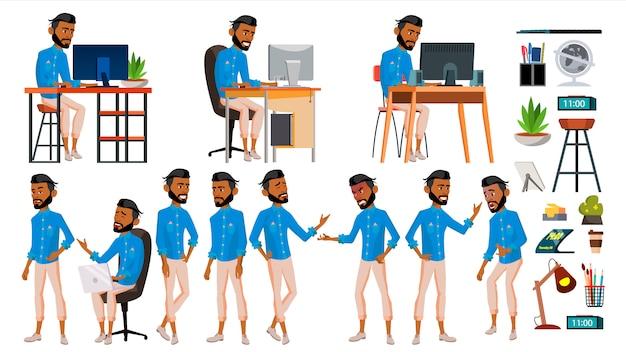 Arab man set employé de bureau