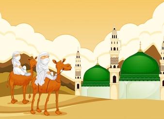 Arabe, chameau, à, mosquée