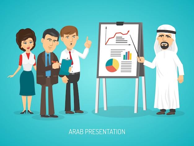 Arabe en costume arabe traditionnel fait une présentation avec un tableau à feuilles mobiles