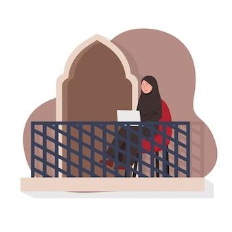 Arabe, femme, travail, balcon