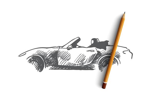 Arabe, femme, voiture, voiture, concept musulman. main femme arabe dessinée en hijab au volant de croquis de concept de voiture.