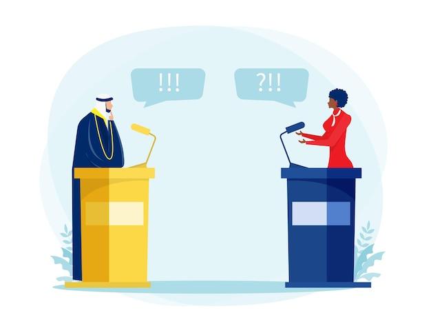 L'arabe musulman avec une femme noire parle d'un débat ou d'une conférence d'hommes politiques sur l'illustrateur vectoriel