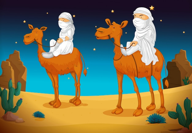 Arabes à dos de chameau