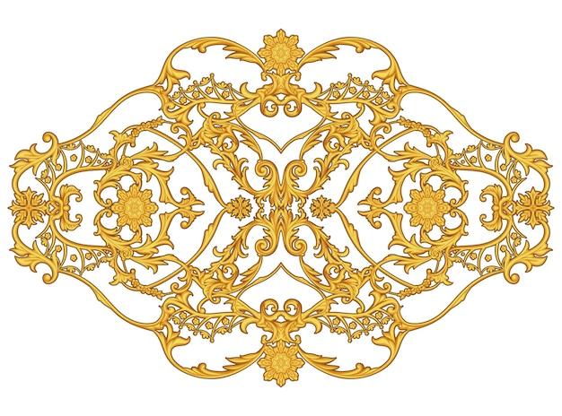 Arabesque dorée avec motif floral sur fond blanc