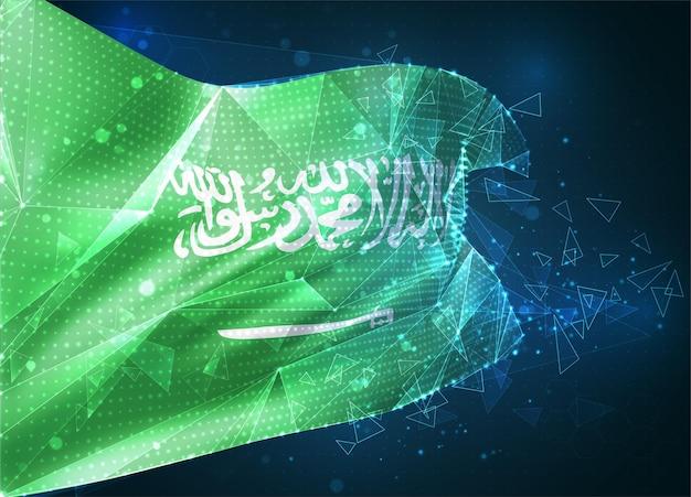 Arabie saoudite, drapeau vectoriel, objet 3d abstrait virtuel à partir de polygones triangulaires sur fond bleu