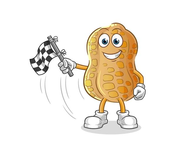 L'arachide tient le drapeau d'arrivée. mascotte de dessin animé