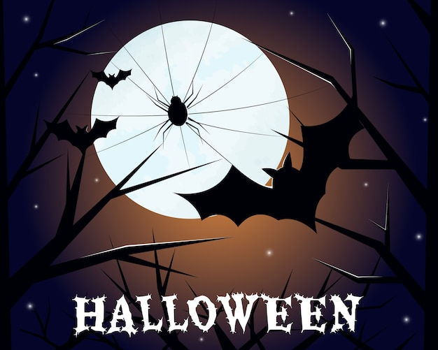 Araignée de carte halloween et chauve-souris sur fond de lune