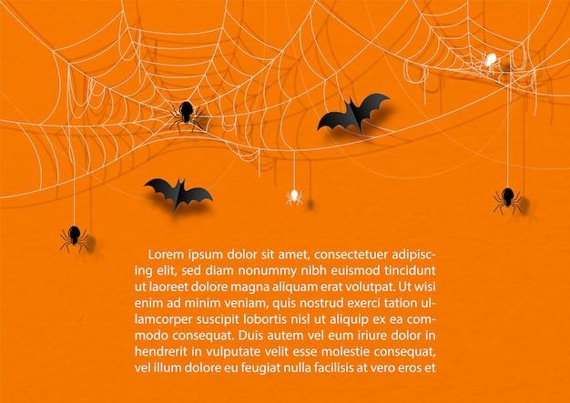 Araignée noire avec toile d'araignée et chauves-souris volant dans un style découpé en papier, exemples de textes sur fond de papier orange.