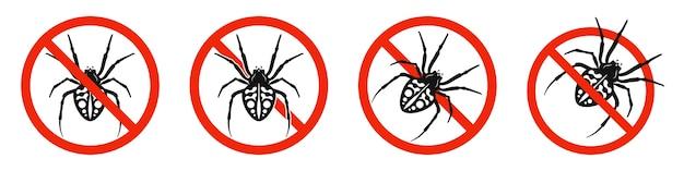 L'araignée avec signe d'interdiction rouge isolé sur blanc