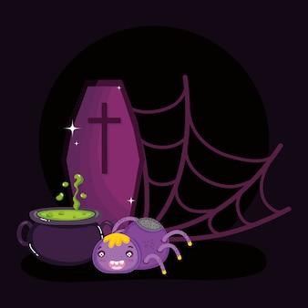 Araignée toile d'araignée chaudron et cercueil halloween