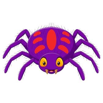 Araignée violette de dessin animé sur fond blanc