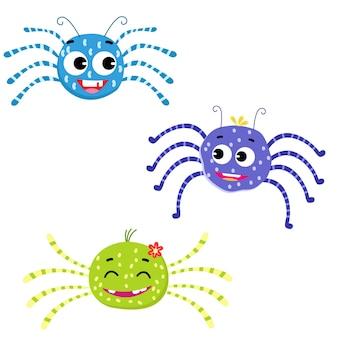 Araignées mignonnes pour le vecteur d'enfants