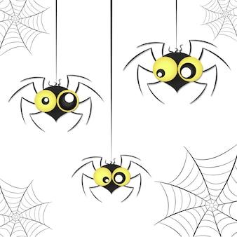 Araignées noires avec filet d'araignée