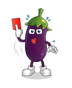 Arbitre d'aubergine avec illustration de carton rouge.