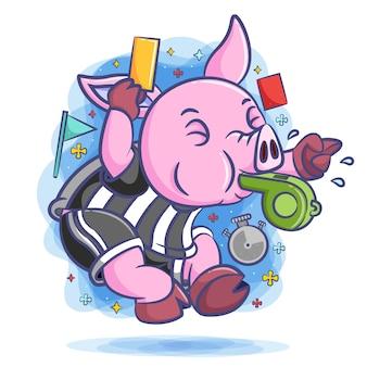 Arbitre cochon sifflant avec le carton jaune et rouge autour de lui