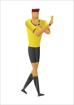 Arbitre de football montrant un carton jaune.